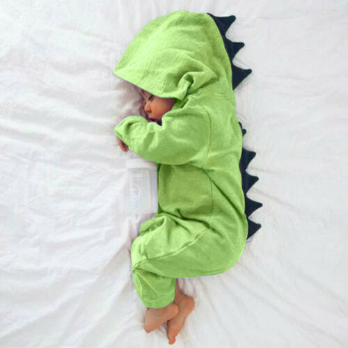Cute Newborn Baby Boy Cartoon Dinosaur Hooded Romper Jumpsuit Outfit Kid Clothes