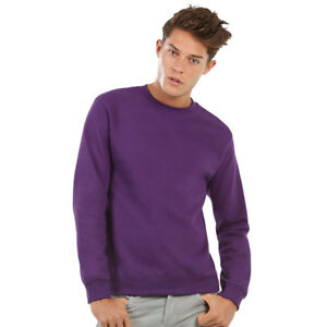 B-amp-C-Adults-Long-Sleeve-Crew-Neck-Pullover-Sweatshirt-Warm-Casual-Plain-Jumper