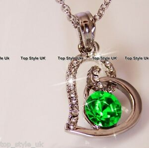 Heart necklace with emerald green diamond in the centre cute gift image is loading heart necklace with emerald green diamond in the aloadofball Images