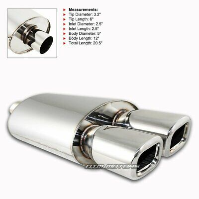 """20/' Length Euro 3/"""" Dual Square Burnt Tip 2.5/"""" Inlet T-304 Exhaust"""