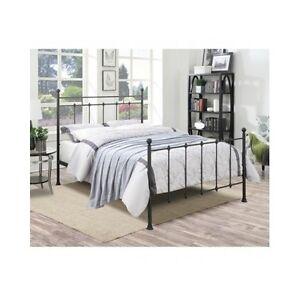 queen size bed frame metal headboard footboard folding poster bed antique rustic. Black Bedroom Furniture Sets. Home Design Ideas