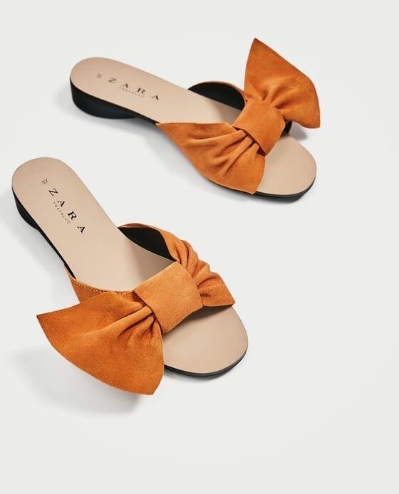 Zara With Women Split Suede Slides With Zara Bow Size 5 EUR 35 NWT c22fa6