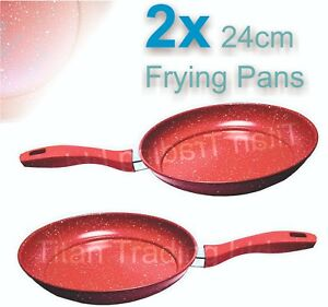 2x-24cm-Marble-Coated-Non-Stick-Red-Frying-Pan-Forged-Cooking-Frypan-Induction