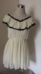 bnwt-ladies-size-small-cream-with-black-trim-short-dress-long-top
