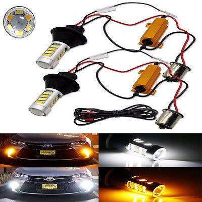 2x 1156 P21W S25 BA15S 42SMD LED Switchback White DRL & Amber Turn Signal Lights