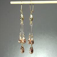 14K solid multi-tone yellow/white/rose gold teardrop hook earrings 2.3 gram