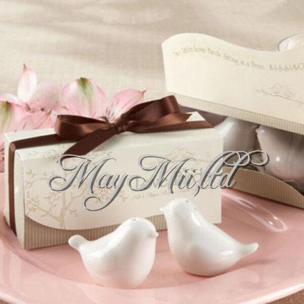 Two Ceramic Love Birds Salt & Pepper Shakers Wedding Favours Bomboniere Shower W