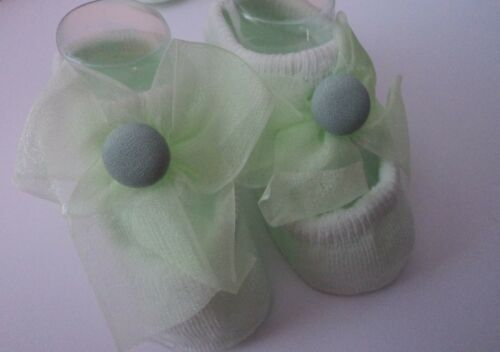 PRETTY EMBELLISHED MINT GREEN   BABY NON-SLIP SOLE SOCKS.3 STYLES AVAILABLE