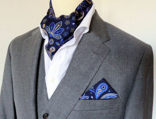 SUPERNOVA SCARVES Navy /& Tan Signature Silk Paisley Mod Scarf 60s Scooter Indie