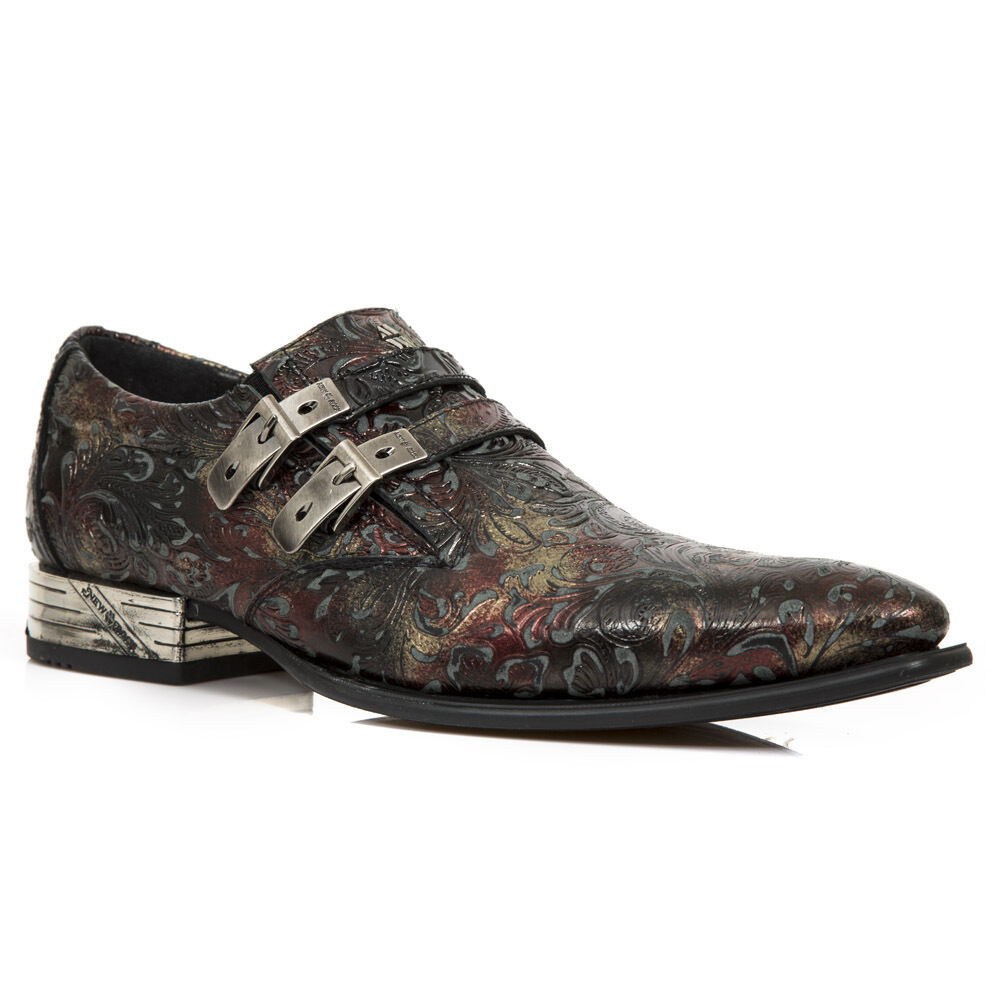 NEWROCK M.2246 S28 ROT EXCLUSIVE New Rock Punk Gothic Flower Print Stiefel  Uomo
