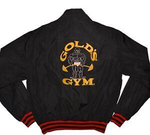 Golds-Gym-Vintage-Windbreaker-Jacket-Mens-XL-Black-1-2-Zip-Pullover-Anorak