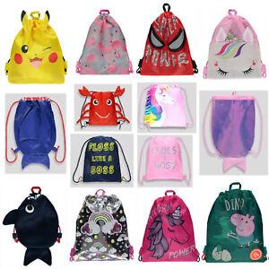School Drawstring Bag Gym Sack Swim PE Dance Various Kit Shoe Boxing Backpack