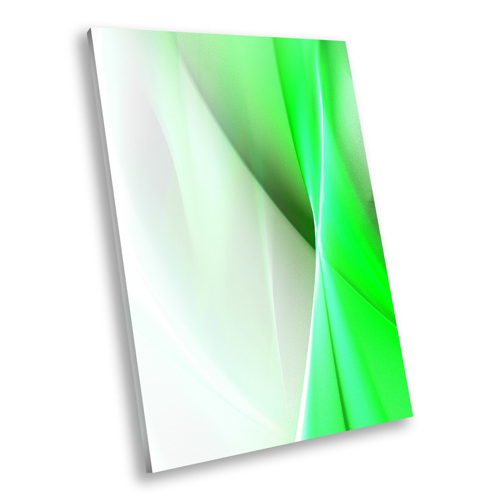 Grün Weiß Spiral Portrait Abstract Canvas Framed Art Large Picture