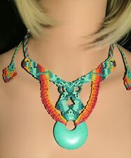 NM-190 Festive Macrame Necklace with Howlite Turquoise Donut Gemstone