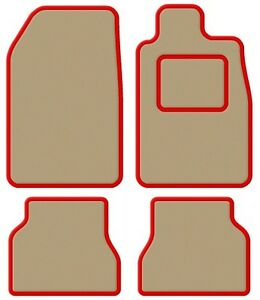 Daihatsu-YRV-01-04-Velour-Beige-Red-Trim-Car-mat-set