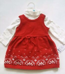NWT CARTER'S BABY GIRL 2 PC SNOWFLAKES RED JUMPER DRESS TURTLENECK BODYSUIT $40