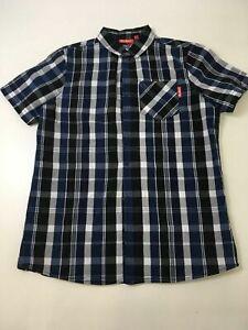 BOYS-KICKERS-BLUE-CHECKED-SHORT-SLEEVE-SHIRT-SIZE-UK-13-YRS