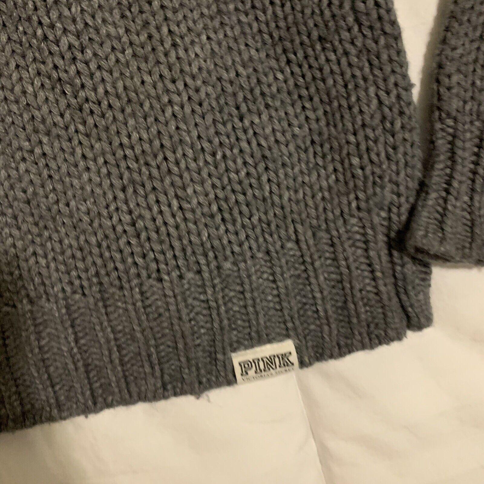 Victoria's Secret varsity letter gray sweater S - image 5