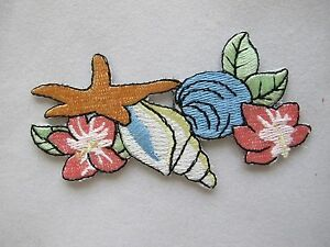 4072-Ocean-Clam-Starfish-Conch-w-Flower-Embroidery-Iron-On-Applique-Patch