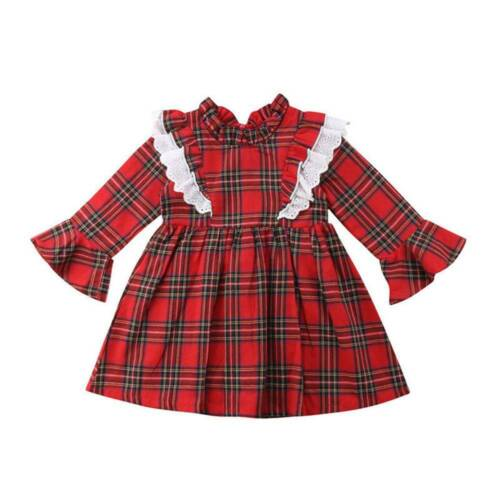 Sisters Matching Kids Baby Girls Christmas Red Plaid Lace Jumpsuit Romper Dress