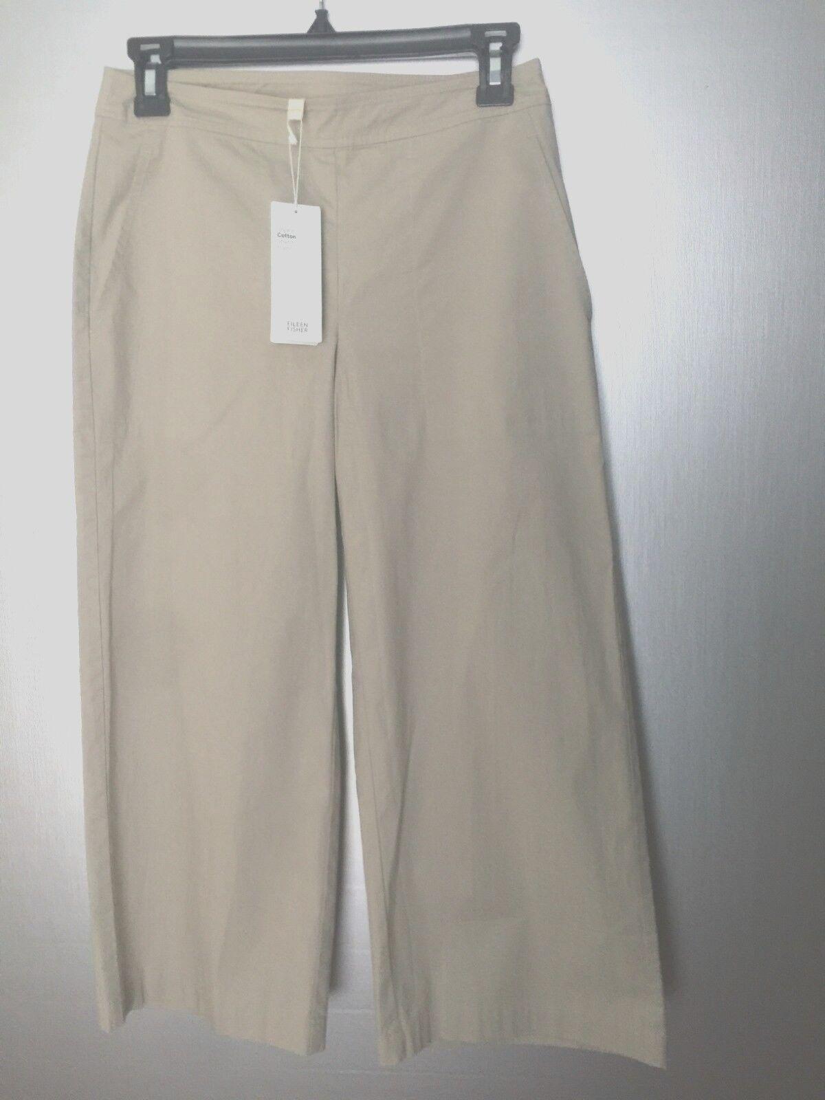 Eileen Fisher Pebble Organic Cotton Stretch Poplin Wide Leg Crop Pants Petite PP