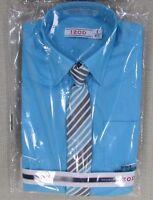 Izod Youth Boy's Regular Fit Long Sleeve Dress Shirt & Tie Set Aqua 5, 6