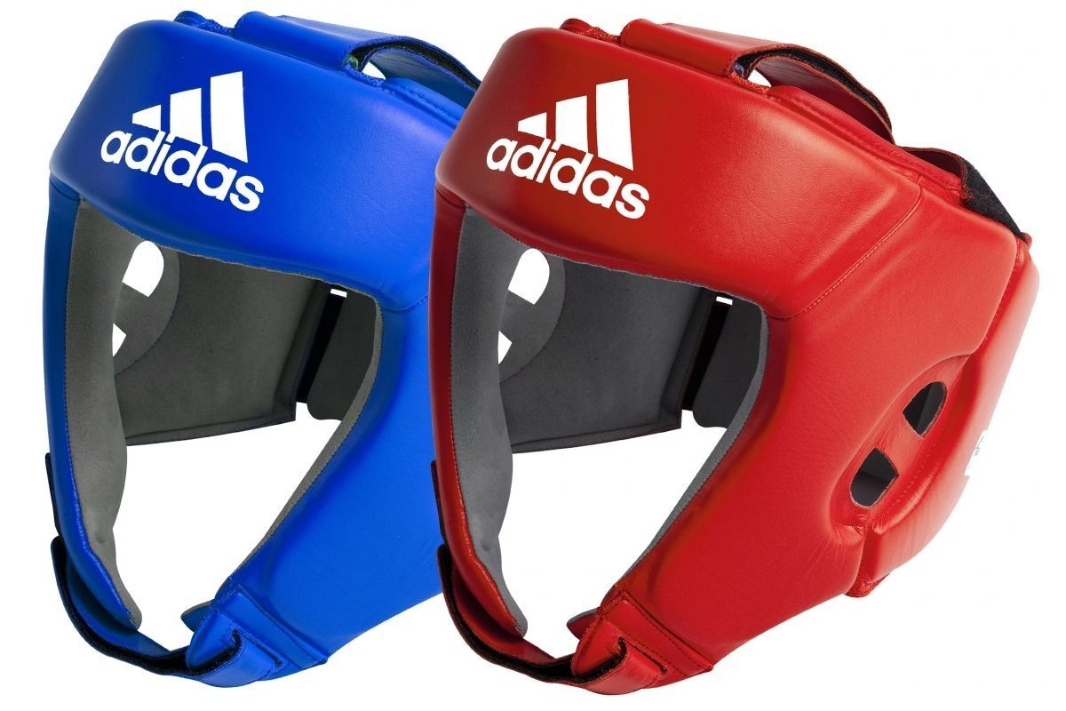 Adidas Official AIBA Approved Head Guard Pro Boxing Leather Headguard Red bluee