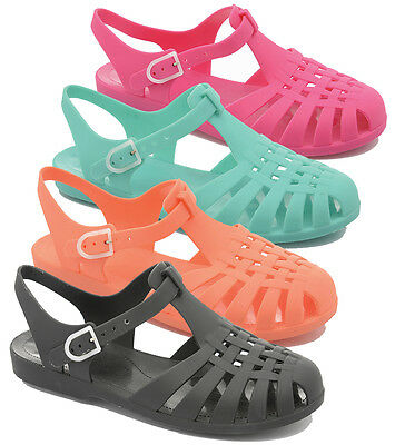 LADIES JELLY SANDALS RETRO SHOES BEACH STRAPPY SUMMER HOLIDAY CASUAL SIZE F0892