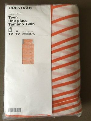 Full Queen NIP IKEA Orange White Stripe ODESTRAD DUVET Quilt Cover w Cases Twin