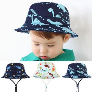 Kid-039-s-Bucket-Hat-Cotton-Summer-Beach-Sun-Cap-Adjustable-Strap-Cartoon-Dinosaur