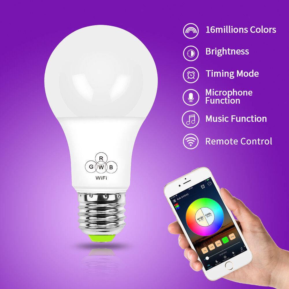 SMART SMART SMART Wifi LAMPADINA 4.5W RGBW E27-compatibile con i dispositivi Alexa e Google 410acc