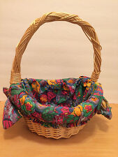 Wicker EASTER Basket Bright Eggs Print Fabric Lined Rustic Country Vintage NICE