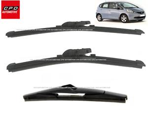 Honda-Jazz-MK3-2015-ON-Front-amp-Rear-Aero-Wiper-Blades-26-14-14-Flat-Wipers