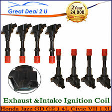 Honda 8 Ignition Coils Exhaust Intake Jazz II GD GE Civic 1.3L 4cyl L13A1 LDA1