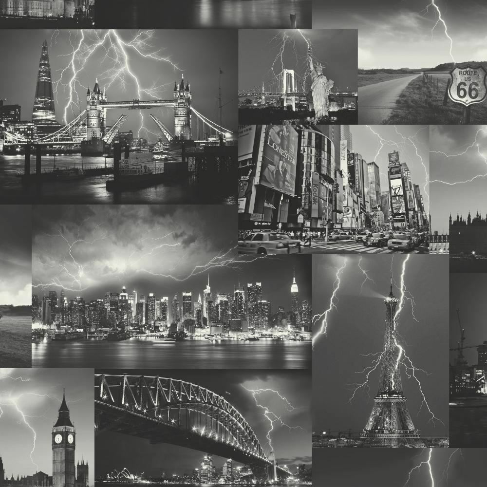 New Holden Decor Storm New York London Paris Black White City
