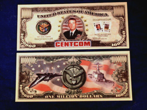 "2Central Command /""Centcom/"" Dollar Bills  Collectible--Novelty MONEY-ID5 FAKE"