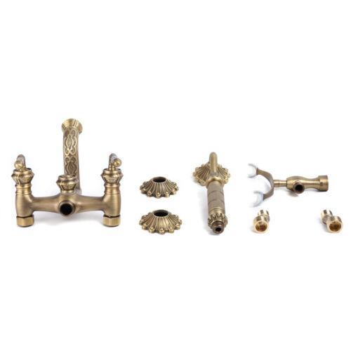 Antique Gold Brass Bath Tub Faucet Hand Shower Spout Mixer Tap 2 Hole Wall Mount