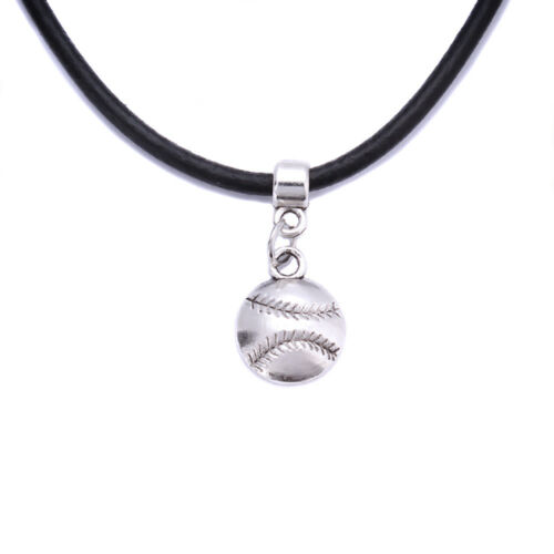 Black Real Leather Cord Tibetan Silver Charm Choker Necklace Pendant For Women