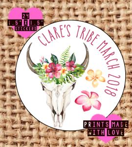 tribal cráneo novia tribu sk1 Gallina Personalizado hacer pegatinas Boho Floral