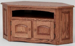 891 Solid Wood Country Oak Corner Tv Stand Ebay