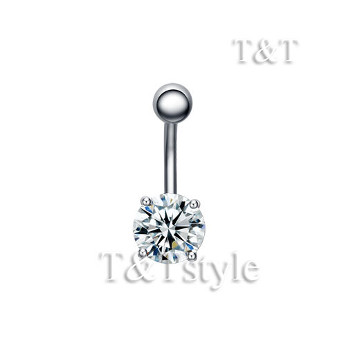 TTstyle  8mm CZ Round Surgical Steel Belly Button Ring Choose Colour