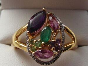 101M-Ladies-gold-on-silver-multi-gemstone-dress-ring-size-S