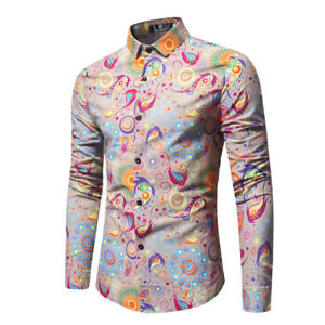 in stock many fashionable double coupon Details about 2018 Men's Floral Flower Print Casual Shirt Men Long Sleeve  Dress Shirts Tops