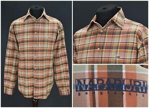 Mens-Napapijri-Casual-Shirt-Orange-Check-Pocket-Cotton-Size-L