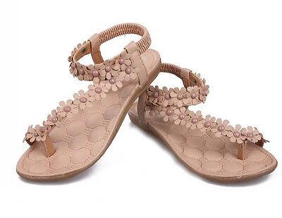 Cool Women Bohemia Floral Flat Shoes Beach Sandals Thongs Slippers Flip Flops