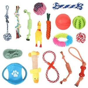 Dog-Rope-Chew-Toys-Kit-Tough-Strong-Knot-Ball-Pet-Puppy-Cotton-Teething-Squeaky
