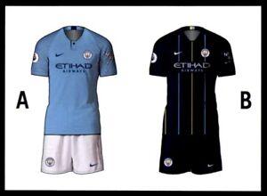 online store 5ce91 fe0cd Details about Merlin Premier League 2019 - Home/Away Kit Manchester City  No. 163