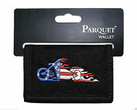 American Motorcycle Mens Wallet Tri-fold Black Zipper Pocket Velcro Novelty