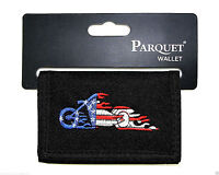 American Motorcycle Mens Wallet Tri-fold Black Zipper Pocket Velcro Novelty
