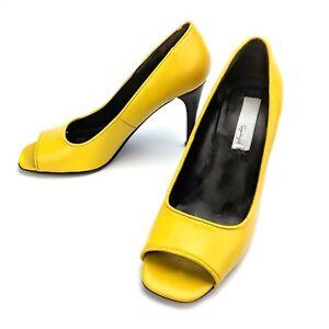 Spiegel-Yellow-Open-Peep-Toe-Leather-Pump-Heels-04226-Size-6-5-M